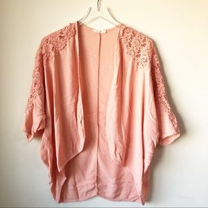 Boutique | Coral Open front short sleeve top
